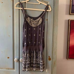 Free People Embroidered Silk Tank Mini Dress